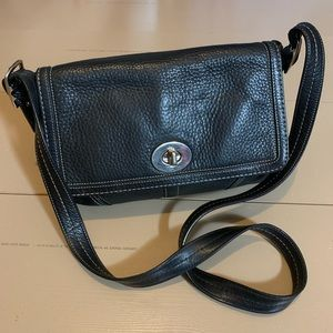 Coach black cross body leather bag 13 by 9